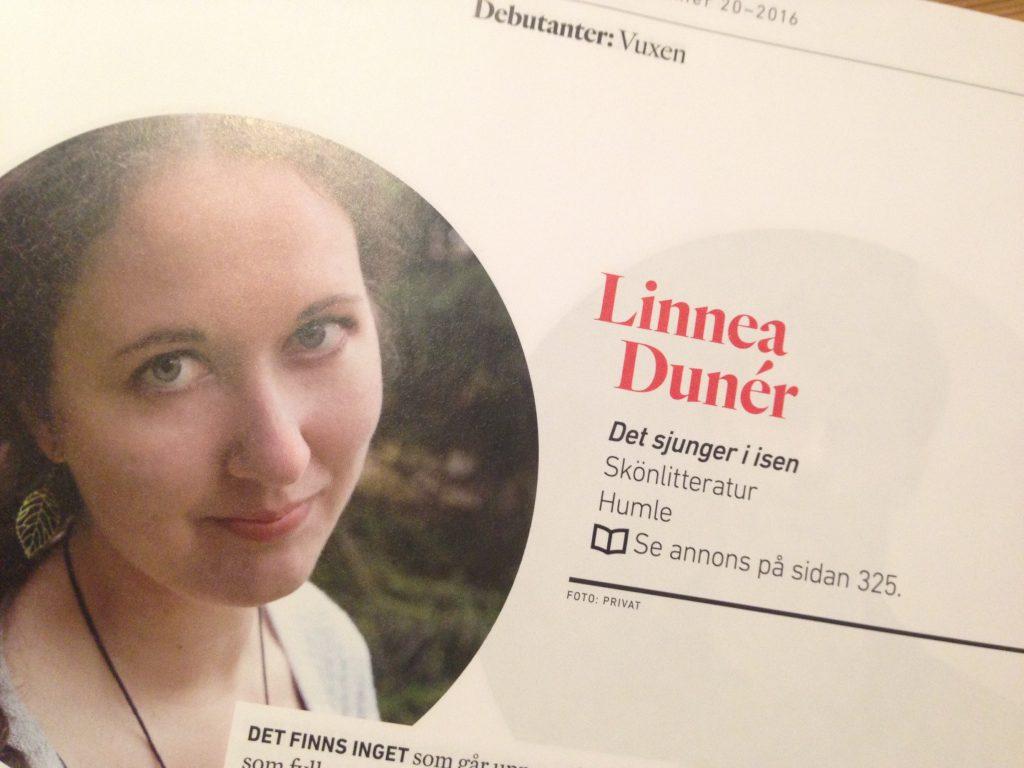 Linnea Dunérs debutantporträtt i Svensk bokhandels vårkatalog.