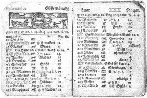 Ett uppslag ur en gammal almanacka