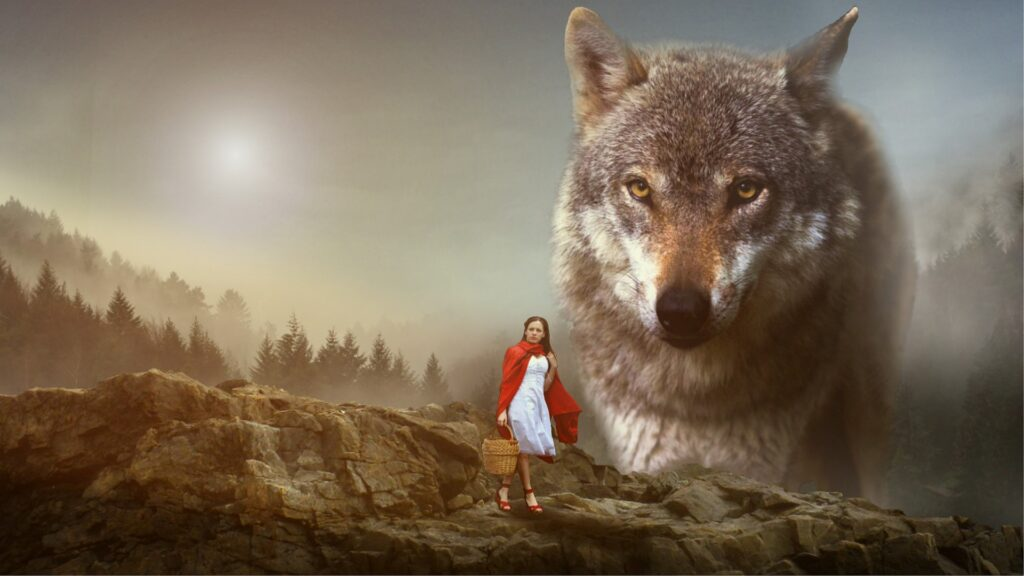 Rödluvan och vargen. Att någon skriver om en annan flicka som möter en annan varg, betyder det att det blir mindre unika böcker?