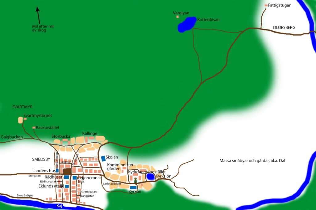 Karta över staden Smedsby i Vargatidertrilogin, en av många fiktiva platser i Litteratursverige.